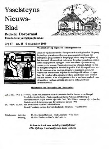 Ysselsteyns Nieuwsblad 2009-11-06