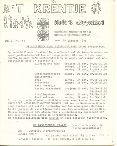 Oirlo's dorpsblad 't Krèntje 1978-10-19