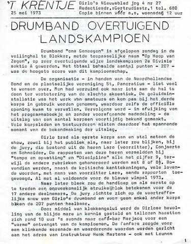 Oirlo's dorpsblad 't Krèntje 1973-05-25