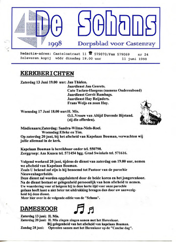 Castenrays dorpsblad De Schans 1998-06-11