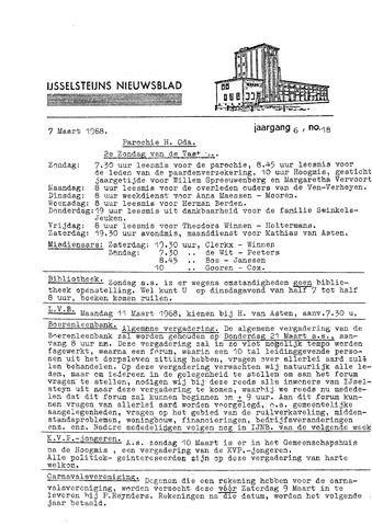 Ysselsteyns Nieuwsblad 1968-03-07