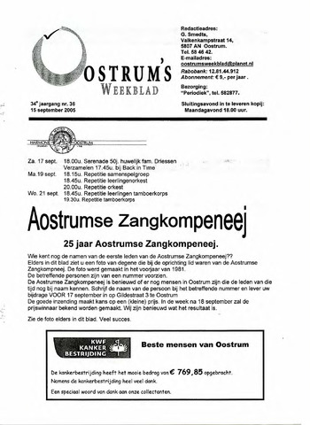 Oostrum's Weekblad 2005-09-15