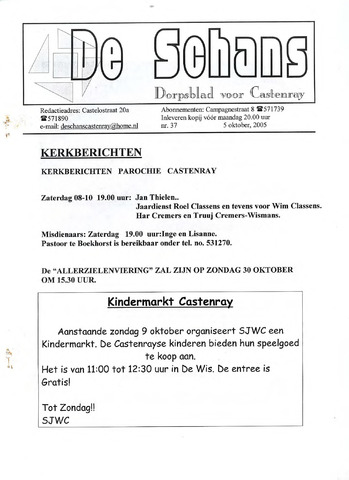 Castenrays dorpsblad De Schans 2005-10-05