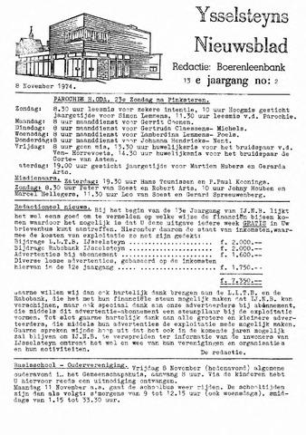 Ysselsteyns Nieuwsblad 1974-11-08