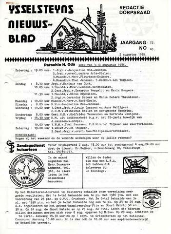 Ysselsteyns Nieuwsblad 1985-08-02