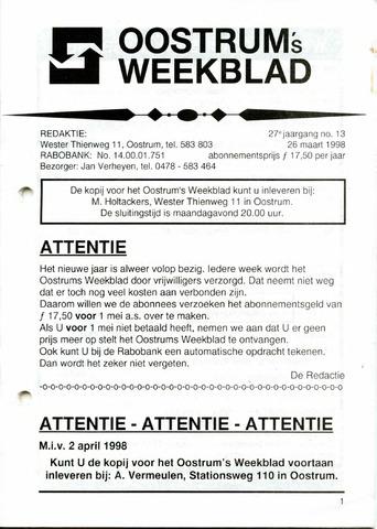 Oostrum's Weekblad 1998-03-26