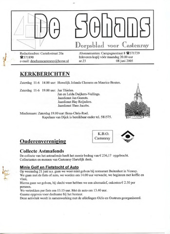 Castenrays dorpsblad De Schans 2005-06-08