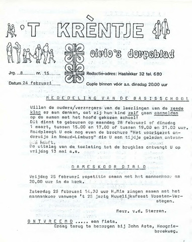 Oirlo's dorpsblad 't Krèntje 1977-02-24