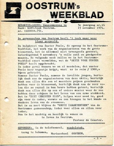 Oostrum's Weekblad 1974-11-15