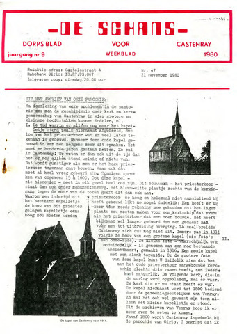Castenrays dorpsblad De Schans 1980-11-21
