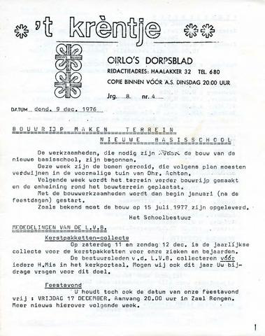 Oirlo's dorpsblad 't Krèntje 1976-12-09