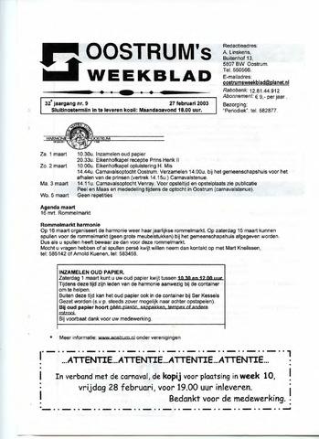 Oostrum's Weekblad 2003-02-27