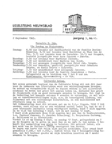 Ysselsteyns Nieuwsblad 1965-09-02