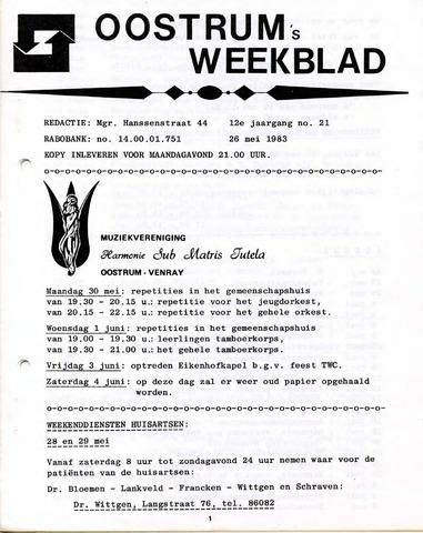 Oostrum's Weekblad 1983-05-26