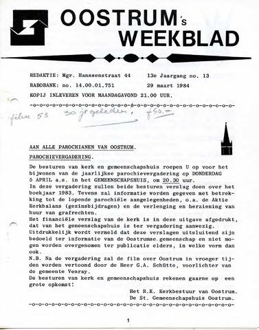 Oostrum's Weekblad 1984-03-29