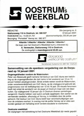 Oostrum's Weekblad 2001-02-08