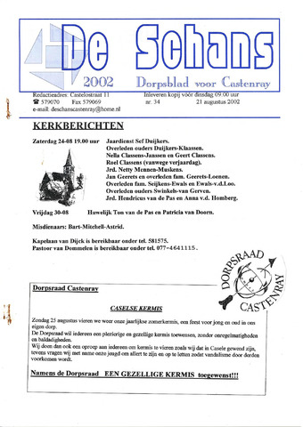 Castenrays dorpsblad De Schans 2002-08-21