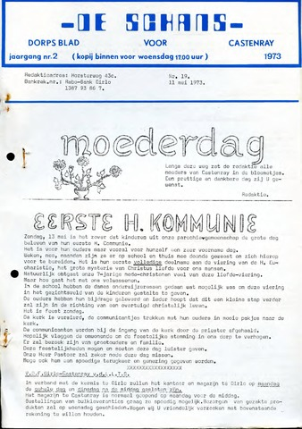 Castenrays dorpsblad De Schans 1973-05-11