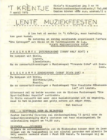 Oirlo's dorpsblad 't Krèntje 1972-04-07