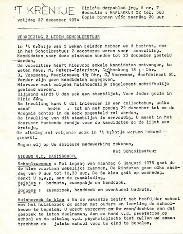 Oirlo's dorpsblad 't Krèntje 1974-12-27