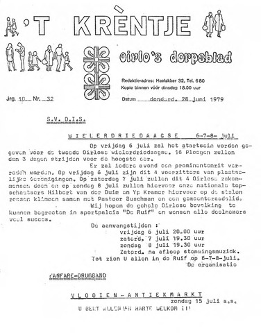 Oirlo's dorpsblad 't Krèntje 1979-06-28