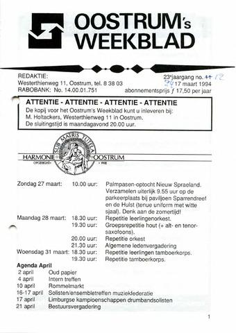Oostrum's Weekblad 1994-03-24