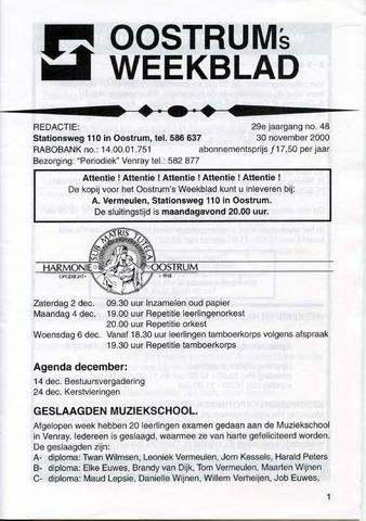 Oostrum's Weekblad 2000-11-30