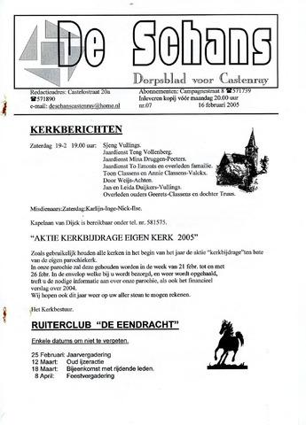 Castenrays dorpsblad De Schans 2005-02-16
