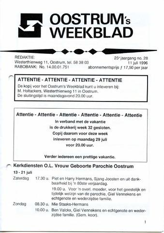 Oostrum's Weekblad 1996-07-11