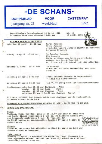 Castenrays dorpsblad De Schans 1992-04-17