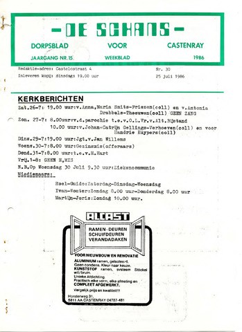 Castenrays dorpsblad De Schans 1986-07-25