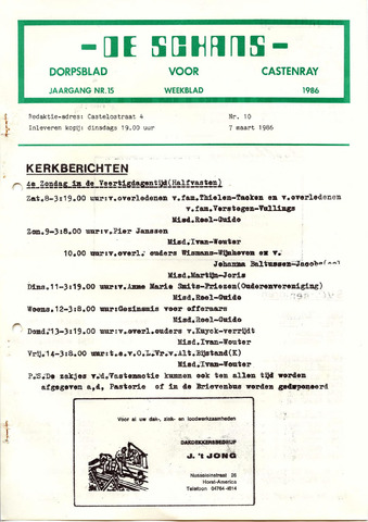 Castenrays dorpsblad De Schans 1986-03-07