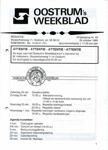Oostrum's Weekblad 1995-10-26
