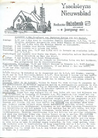 Ysselsteyns Nieuwsblad 1977-11-18