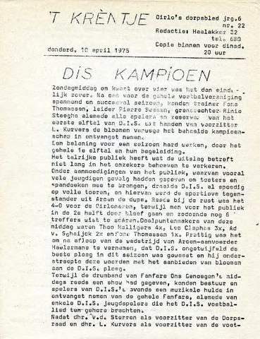 Oirlo's dorpsblad 't Krèntje 1975-04-10