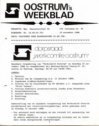 Oostrum's Weekblad 1988-11-10
