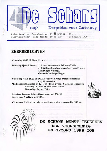 Castenrays dorpsblad De Schans 1998-01-02