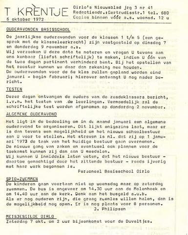 Oirlo's dorpsblad 't Krèntje 1972-10-06