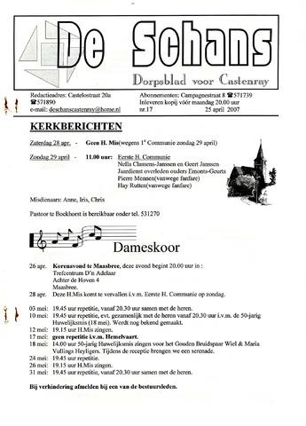 Castenrays dorpsblad De Schans 2007-04-25