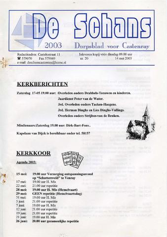 Castenrays dorpsblad De Schans 2003-05-14