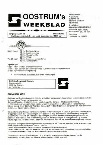 Oostrum's Weekblad 2003-03-20