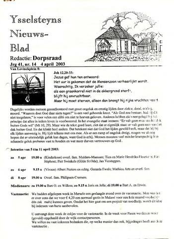 Ysselsteyns Nieuwsblad 2003-04-04