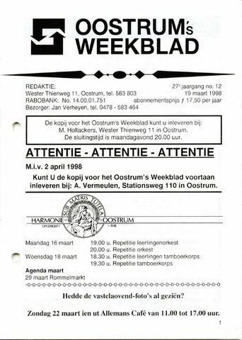 Oostrum's Weekblad 1998-03-19
