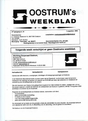 Oostrum's Weekblad 2002-08-01