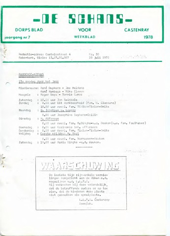 Castenrays dorpsblad De Schans 1978-07-28