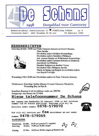 Castenrays dorpsblad De Schans 1998-02-26
