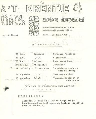Oirlo's dorpsblad 't Krèntje 1978-06-22