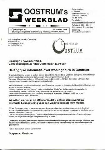 Oostrum's Weekblad 2004-10-28