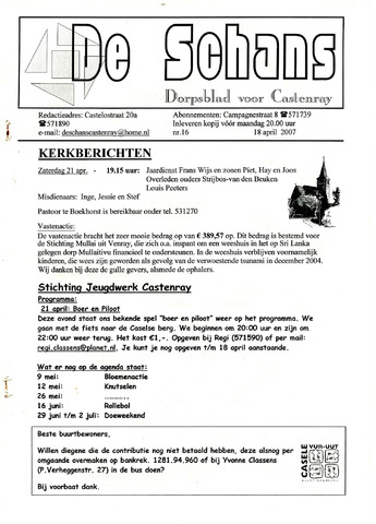 Castenrays dorpsblad De Schans 2007-04-18