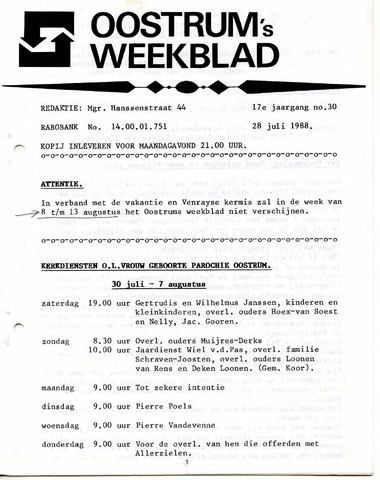 Oostrum's Weekblad 1988-07-28
